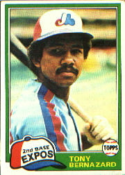 1981 Topps Baseball Cards      413     Tony Bernazard