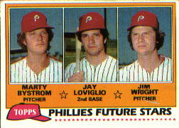 1981 Topps Baseball Cards      526     Marty Bystrom/Jay Loviglio/Jim Wright RC