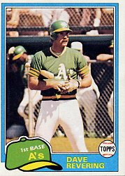 1981 Topps Baseball Cards      568     Dave Revering