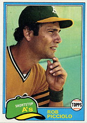 1981 Topps Baseball Cards      604     Rob Picciolo