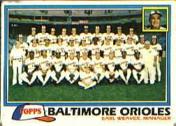 1981 Topps Baseball Cards      661     Orioles Team CL#{Earl Weaver MG