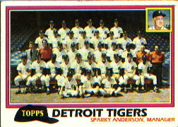 1981 Topps Baseball Cards      666     Tigers Team/Mgr.#{Sparky Anderson#{(Checklist back