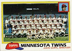 1981 Topps Baseball Cards      669     Twins Team CL.#{John Goryl MG