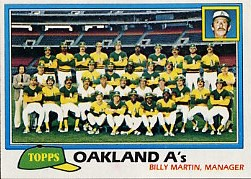 1981 Topps Baseball Cards      671     A's Team CL#{Billy Martin MG