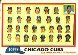 1981 Topps Baseball Cards      676     Cubs Team CL#{Joe Amalfitano MG