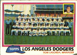 1981 Topps Baseball Cards      679     Dodgers Team CL#{Tom Lasorda MG