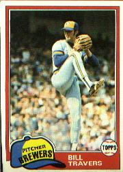 1981 Topps Baseball Cards      704     Bill Travers