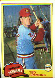 1981 Topps Baseball Cards      705     Ted Simmons