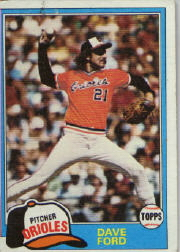 1981 Topps Baseball Cards      706     Dave Ford RC