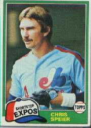 1981 Topps Baseball Cards      097      Chris Speier
