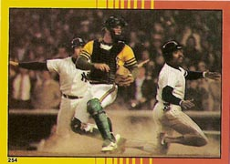 1982 Topps Baseball Stickers     254     1981 AL Playoffs#{(Action at plate)