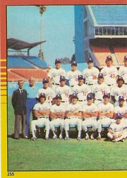 1982 Topps Baseball Stickers     255     Dodgers Team#{World Champions#{(Left half photo)