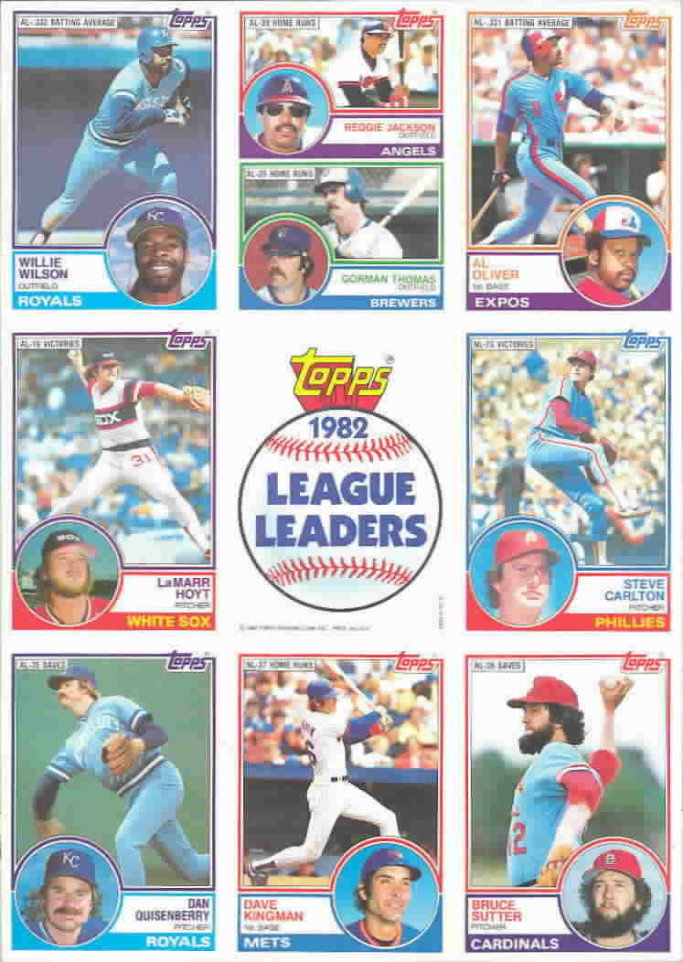 1983 Topps League Leaders Sheet Baseball Cards
