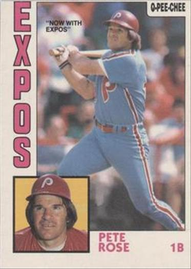 1984 O-Pee-Chee Baseball Cards 300     Pete Rose#{Now with Expos