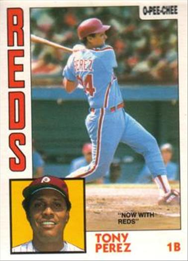 1984 O-Pee-Chee Baseball Cards 385     Tony Perez#{Now with Reds