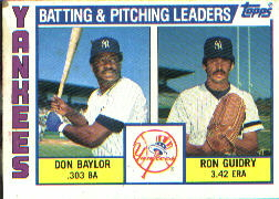 1984 Topps      486     Yankees TL Don Baylor/Ron Guidry TL