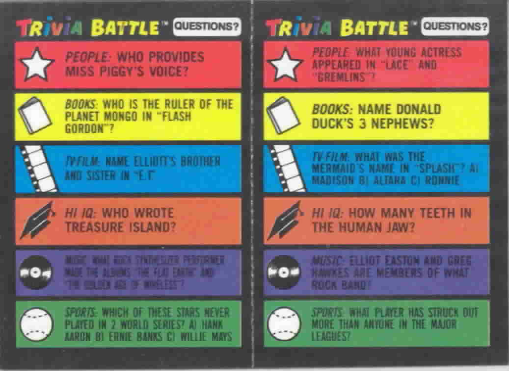 1984 Topps Trivia Battle Panels Football Cards
