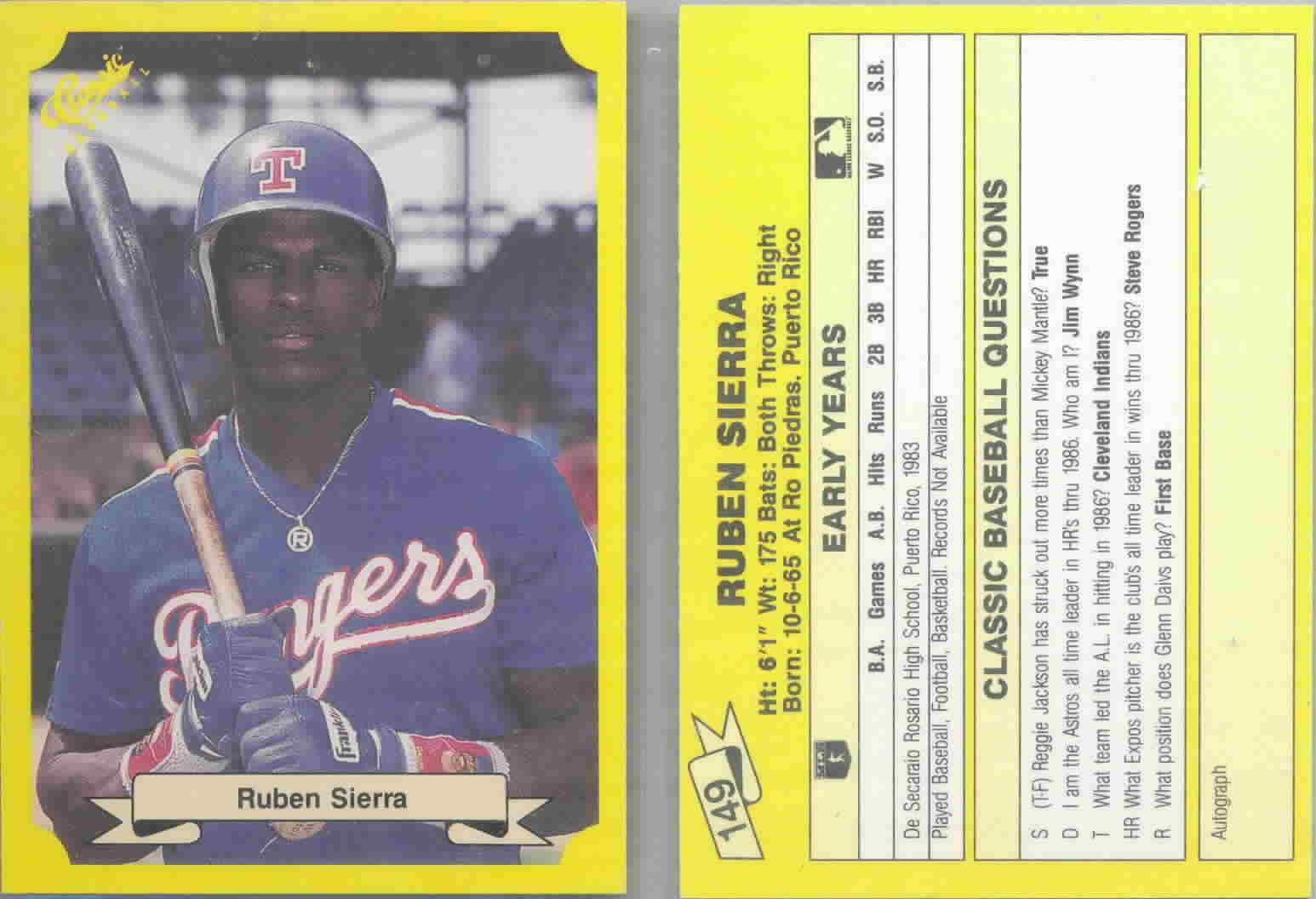 1987 Classic Update Yellow Baseball Cards