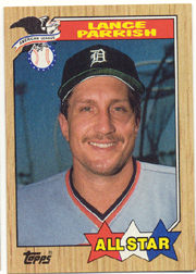 1987 Topps Baseball Cards      613     Lance Parrish AS UER#{(Pitcher heading#{on back)