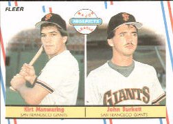 1988 Fleer Baseball Cards       651     John Burkett/Kirt Manwaring RC