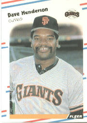 1988 Fleer Baseball Cards      084      Dave Henderson