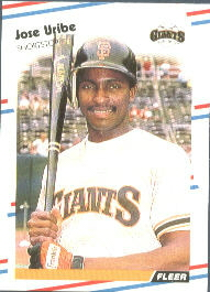 1988 Fleer Baseball Cards      099      Jose Uribe