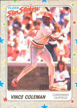 1988 Fleer Sticker Baseball Cards        117     Vince Coleman