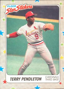 1988 Fleer Sticker Baseball Cards        119     Terry Pendleton