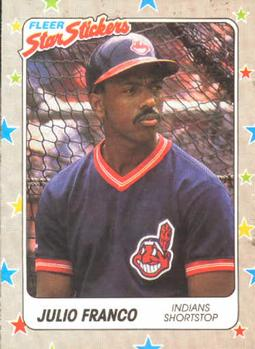 1988 Fleer Sticker Baseball Cards        019      Julio Franco