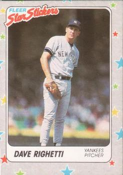 1988 Fleer Sticker Baseball Cards        052      Dave Righetti