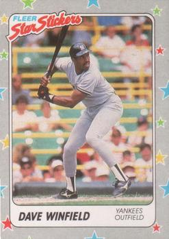 1988 Fleer Sticker Baseball Cards        053      Dave Winfield