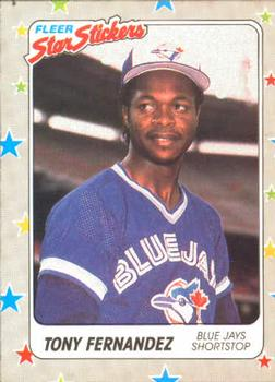 1988 Fleer Sticker Baseball Cards        072      Tony Fernandez