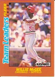 1988 Fleer Team Leaders Baseball Cards 020      Willie McGee