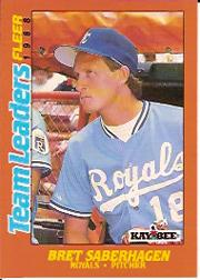 1988 Fleer Team Leaders Baseball Cards 032      Bret Saberhagen