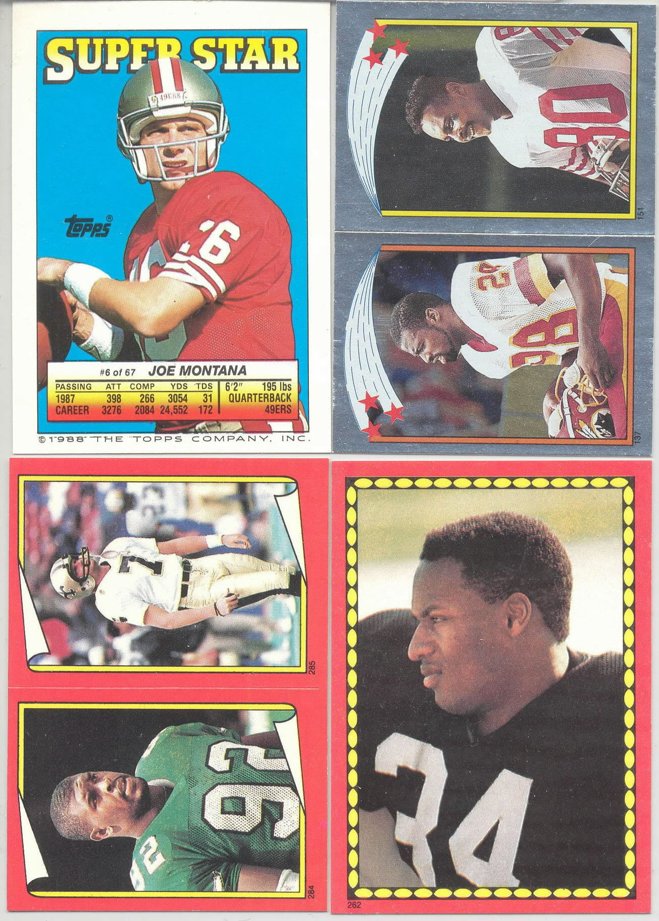 1988 Topps Football Stickers Variations 6 Joe Montana/121 Bobby Hebert/215 Barry Krauss