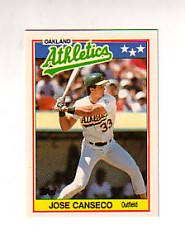 1988 Topps UK Minis Tiffany     010      Jose Canseco