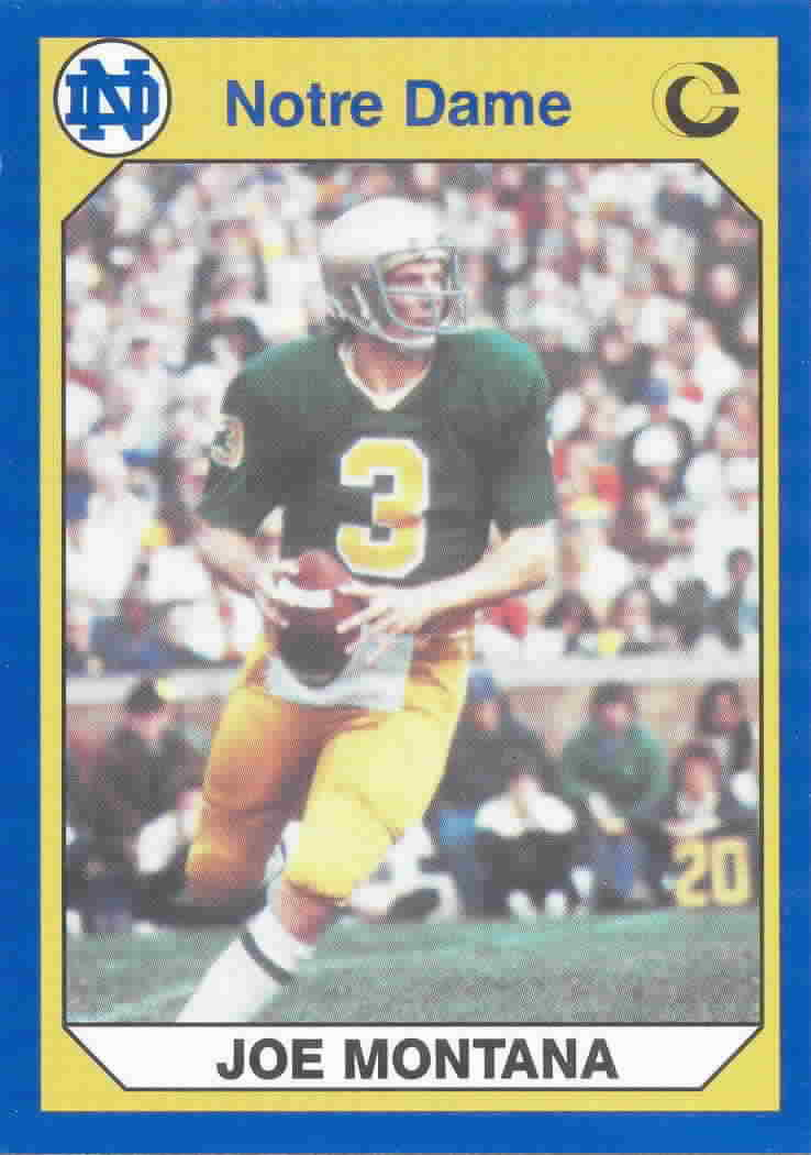1990 Notre Dame Collegiate Collection Football Cards