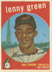 1959 Topps Baseball Cards      209A    Lenny Green GB