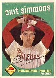 1959 Topps Baseball Cards      382     Curt Simmons