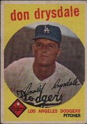 1959 Topps Baseball Cards      387     Don Drysdale