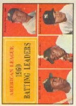1961 Topps Baseball Cards      042      AL Batting Leaders-Pete Runnels-Al Smith-Minnie Minoso-Bill Skowron