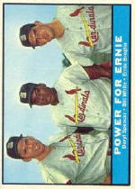 1961 Topps Baseball Cards      451     Power for Ernie-Daryl Spencer-Bill White-Ernie Broglio