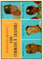 1961 Topps Baseball Cards      049      NL Strikeout Leaders-Don Drysdale-Sandy Koufax-Sam Jones-Ernie Broglio