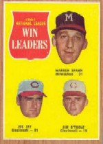 1962 Topps      058      NL Win Leaders-Warren Spahn-Joe Jay-Jim O Toole