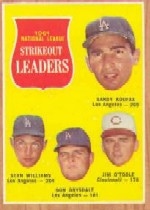 1962 Topps      060      NL Strikeout Leaders-Sandy Koufax-Stan Williams-Don Drysdale-Jim O Toole