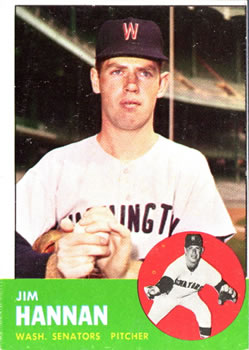 1963 Topps Baseball Cards      121     Jim Hannan RC