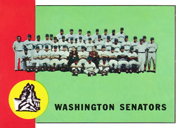 1963 Topps Baseball Cards      131     Washington Senators TC