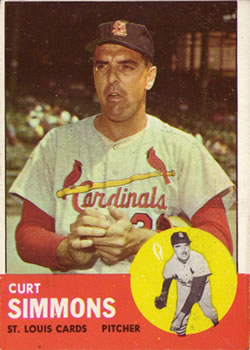 1963 Topps Baseball Cards      022      Curt Simmons