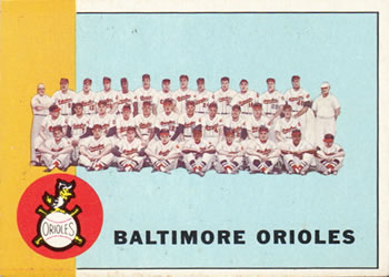 1963 Topps Baseball Cards      377     Baltimore Orioles TC
