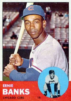 1963 Topps Baseball Cards      380     Ernie Banks UER